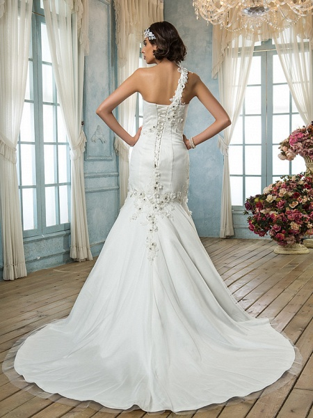 Mermaid \ Trumpet One Shoulder Court Train Tulle Sleeveless Wedding Dresses_2