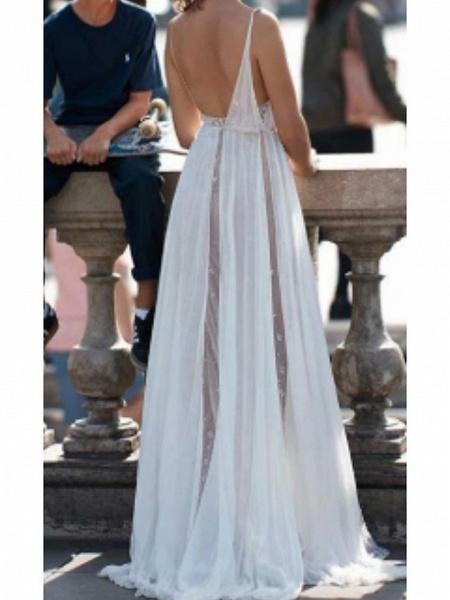 A-Line Wedding Dresses V Neck Chapel Train Tulle Spaghetti Strap_2