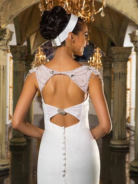 Mermaid \ Trumpet Wedding Dresses Sweetheart Neckline Sweep \ Brush Train Organza Tulle Cap Sleeve Formal Separate Bodies_10