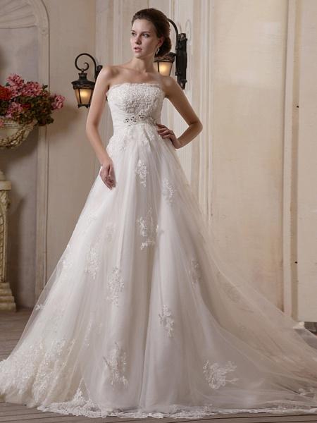 Princess A-Line Strapless Scalloped-Edge Chapel Train Satin Tulle Sleeveless Wedding Dresses_1