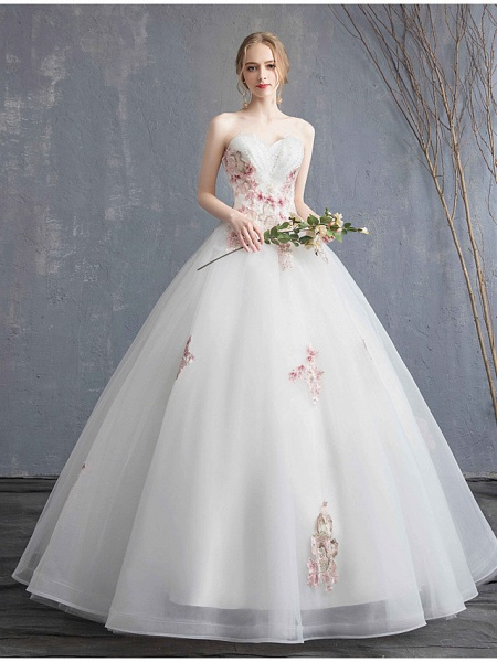 A-Line Wedding Dresses Strapless Maxi Lace Organza Tulle Strapless Country Romantic Sparkle & Shine_3