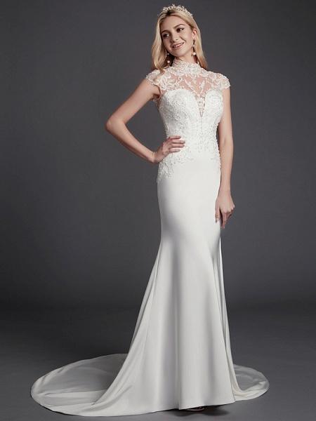 Mermaid \ Trumpet Wedding Dresses High Neck Court Train Lace Satin Sleeveless Sexy See-Through Illusion Detail Backless_5