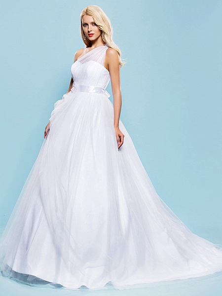 Ball Gown Wedding Dresses One Shoulder Court Train Tulle Sleeveless_3