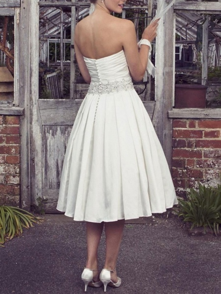 A-Line Wedding Dresses Strapless Tea Length Taffeta Half Sleeve Sleeveless Vintage Sexy Wedding Dress in Color_2