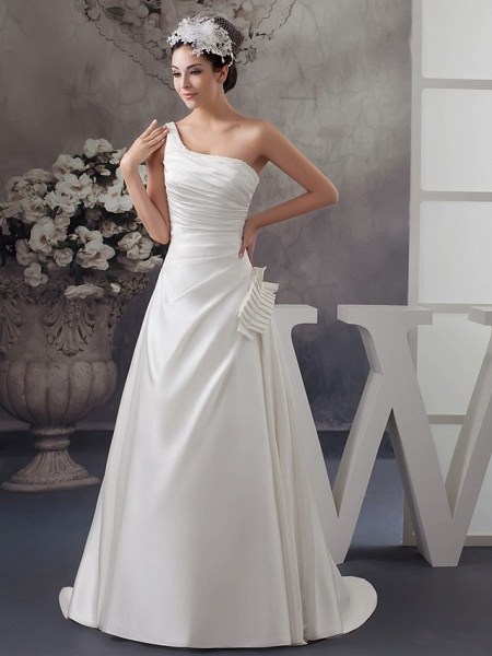 A-Line Wedding Dresses One Shoulder Sweep \ Brush Train Satin Spaghetti Strap_1