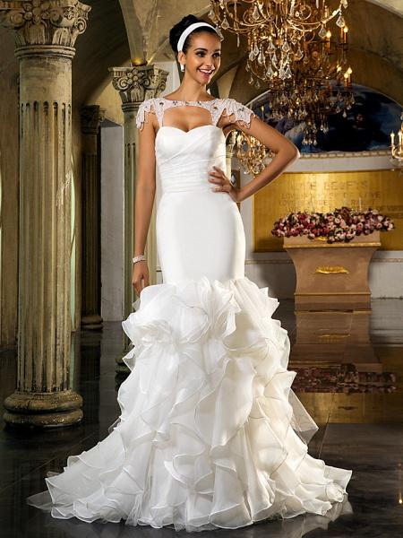 Mermaid \ Trumpet Wedding Dresses Sweetheart Neckline Sweep \ Brush Train Organza Tulle Cap Sleeve Formal Separate Bodies_2