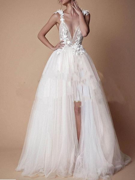 A-Line Wedding Dresses V Neck Floor Length Lace Tulle Cap Sleeve Formal Boho Plus Size_1