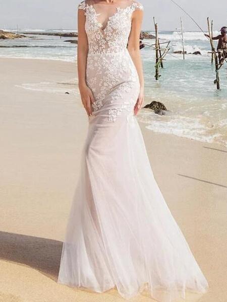 Mermaid \ Trumpet Wedding Dresses Jewel Neck Sweep \ Brush Train Lace Tulle Sleeveless Sexy See-Through_1