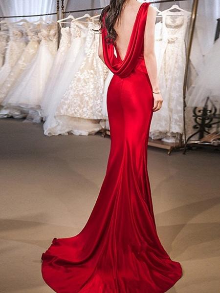 Mermaid \ Trumpet Wedding Dresses Jewel Neck Sweep \ Brush Train Satin Sleeveless Beach Red_3