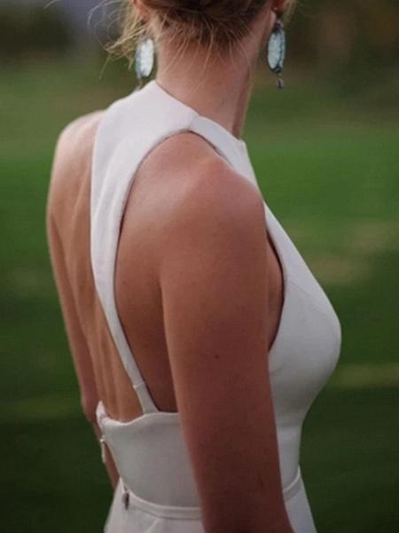 A-Line Wedding Dresses Jewel Neck Sweep \ Brush Train Satin Regular Straps Plus Size_4