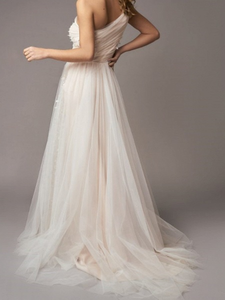 A-Line Wedding Dresses One Shoulder Sweep \ Brush Train Tulle Sleeveless Country Backless_2