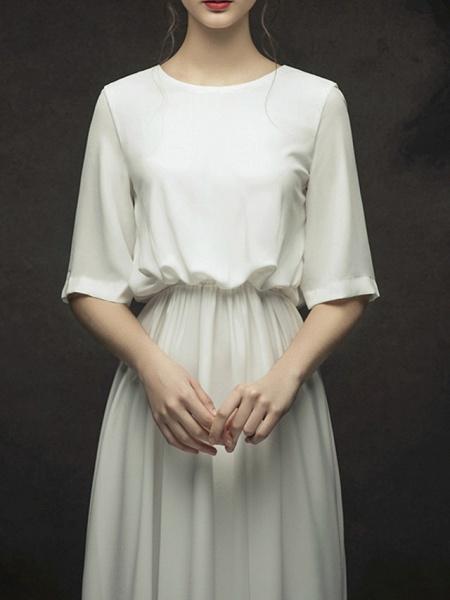 A-Line Wedding Dresses Jewel Neck Sweep \ Brush Train Chiffon Satin Half Sleeve Simple Elegant_3