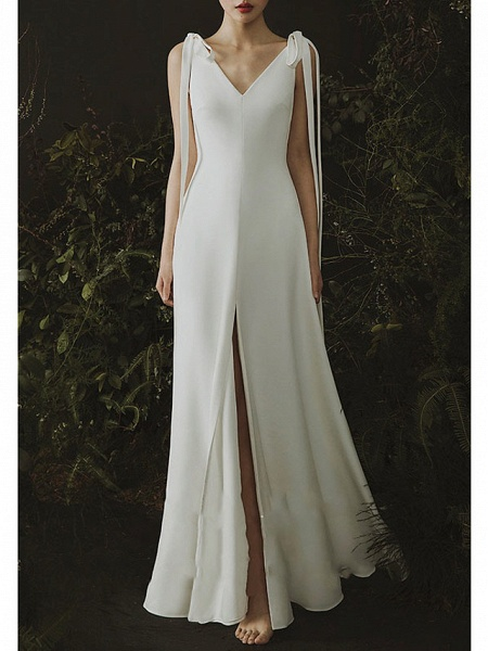 Mermaid \ Trumpet Wedding Dresses V Neck Sweep \ Brush Train Satin Cap Sleeve Formal Plus Size_1