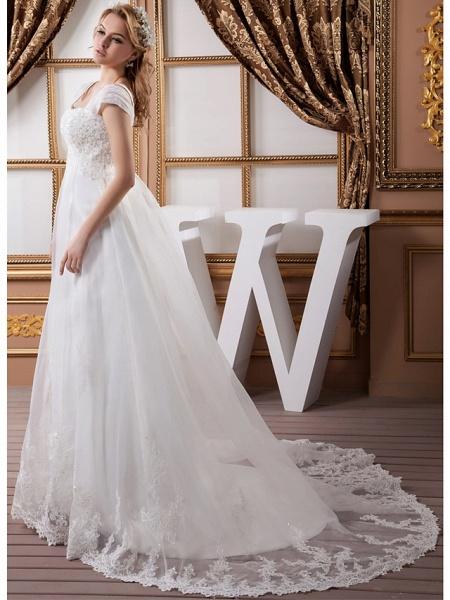 A-Line Square Neck Court Train Lace Organza Satin Cap Sleeve Formal Vintage Illusion Detail Plus Size Wedding Dresses_2
