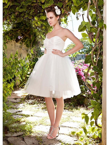 Ball Gown Wedding Dresses Sweetheart Neckline Knee Length Taffeta Tulle Strapless See-Through_4