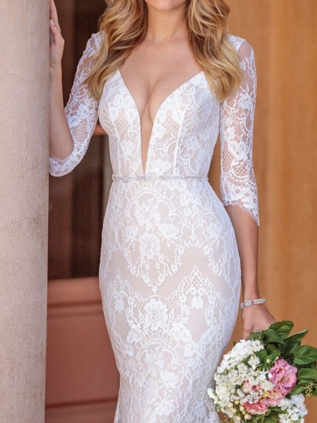 Sheath \ Column V Neck Court Train Lace Half Sleeve Country Wedding Dress in Color Wedding Dresses_3