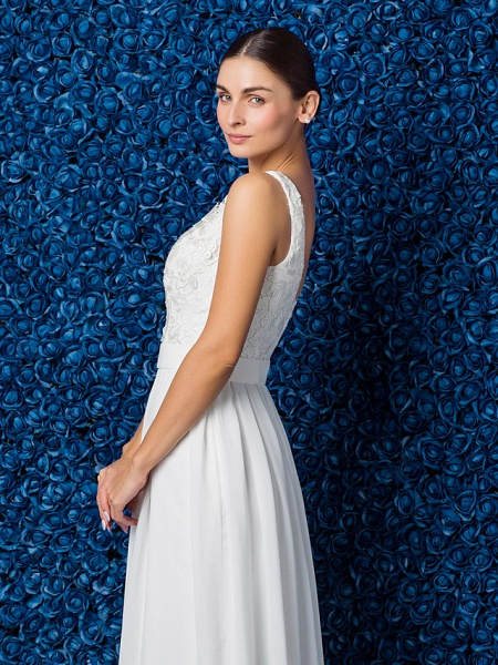 Sheath \ Column Elegant Prom Formal Evening Dress Illusion Neck Sleeveless Floor Length Chiffon Lace_8