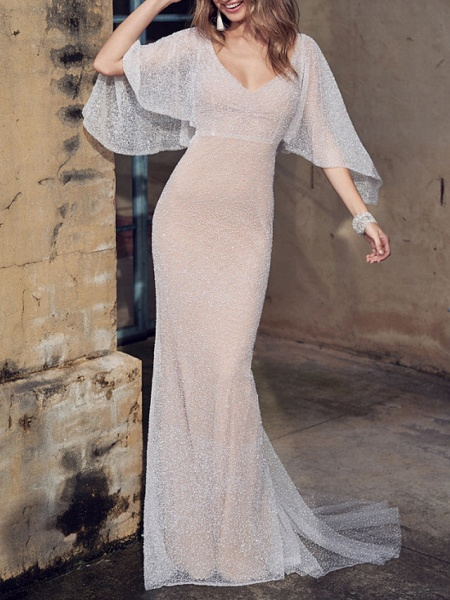 A-Line Wedding Dresses V Neck Court Train Tulle Sleeveless Vintage Sexy Wedding Dress in Color See-Through_1