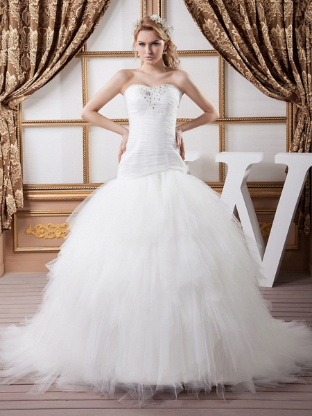 Mermaid \ Trumpet Sweetheart Neckline Court Train Satin Tulle Strapless Sexy Wedding Dresses_1