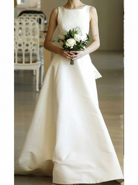 A-Line Wedding Dresses Jewel Neck Sweep \ Brush Train Satin Regular Straps Formal Plus Size_1