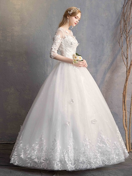 Ball Gown Wedding Dresses Scoop Neck Floor Length Lace Tulle Lace Over Satin Half Sleeve Country Vintage Illusion Sleeve_8