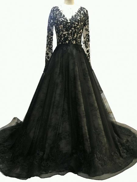 A-Line Wedding Dresses V Neck Sweep \ Brush Train Polyester Long Sleeve Formal Plus Size Black_1