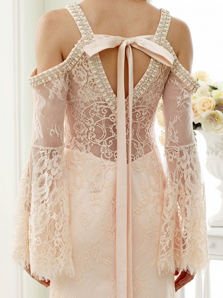 Sheath \ Column Wedding Dresses Plunging Neck Sweep \ Brush Train Sheer Lace Long Sleeve Wedding Dress in Color Open Back Floral Lace_9