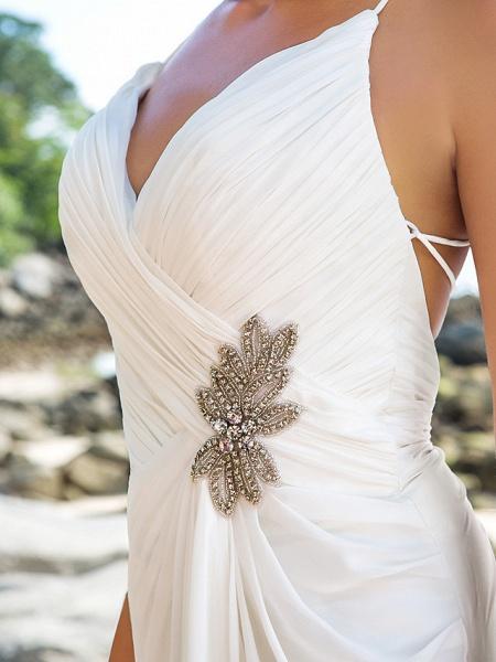 Sheath \ Column Wedding Dresses V Neck Sweep \ Brush Train Chiffon Spaghetti Strap Beach Sparkle & Shine Backless_6