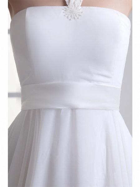A-Line Wedding Dresses Halter Neck Floor Length Chiffon Satin Strapless_5