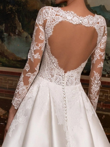 A-Line Wedding Dresses V Neck Court Train Lace Satin Long Sleeve Country Backless Illusion Sleeve_2
