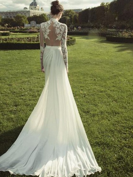 A-Line Wedding Dresses High Neck Court Train Lace Polyester Long Sleeve Country Illusion Sleeve_3