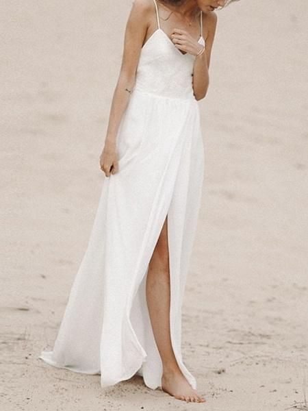 A-Line Wedding Dresses V Neck Sweep \ Brush Train Lace Sleeveless Formal_1
