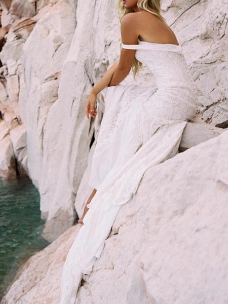 Mermaid \ Trumpet Wedding Dresses Sweetheart Neckline Sweep \ Brush Train Lace Satin Short Sleeve Vintage Sexy Backless_5