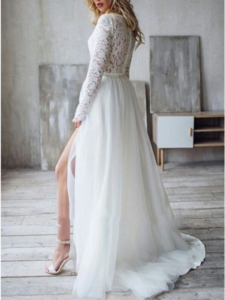 A-Line Wedding Dresses Jewel Neck Sweep \ Brush Train Lace Long Sleeve Romantic Boho See-Through Illusion Detail Backless_2