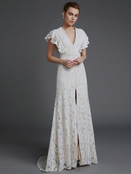 A-Line V Neck Sweep \ Brush Train Lace Sleeveless Boho Wedding Dresses_5