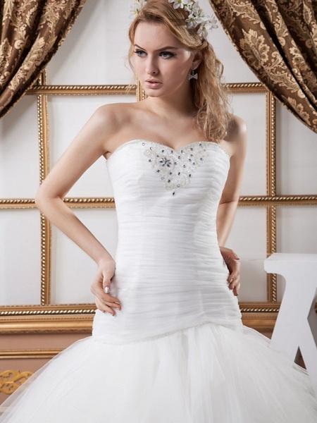 Mermaid \ Trumpet Sweetheart Neckline Court Train Satin Tulle Strapless Sexy Wedding Dresses_4