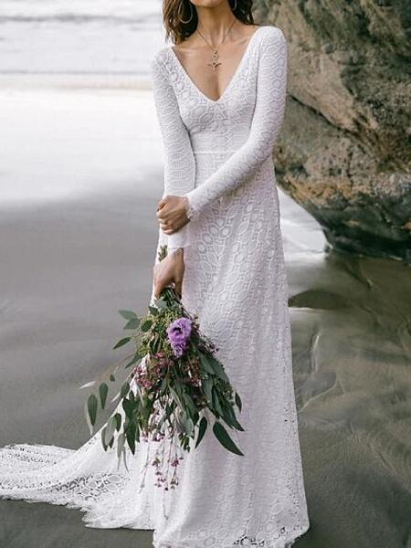 A-Line Wedding Dresses V Neck Sweep \ Brush Train Lace Long Sleeve Boho Sexy Backless_1