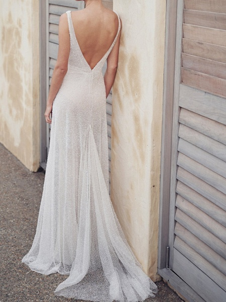 A-Line Wedding Dresses V Neck Court Train Tulle Sleeveless Vintage Sexy Wedding Dress in Color See-Through_3