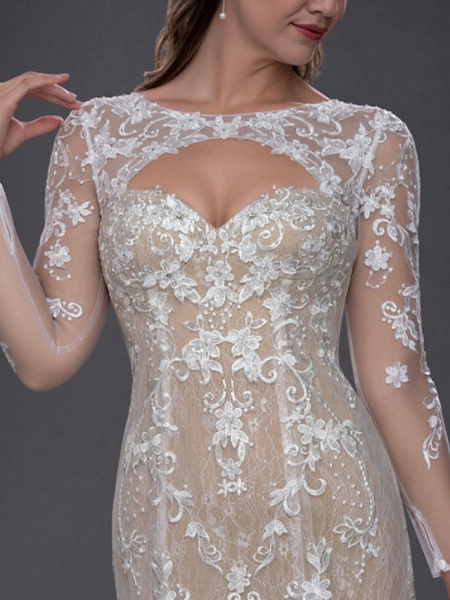 Mermaid \ Trumpet Jewel Neck Chapel Train Lace Tulle Long Sleeve Sexy See-Through Wedding Dresses_4
