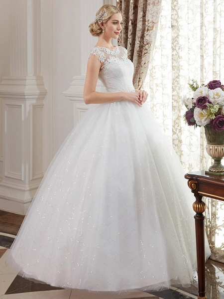 Ball Gown Wedding Dresses Jewel Neck Floor Length Lace Over Tulle Cap Sleeve Romantic Illusion Detail_3