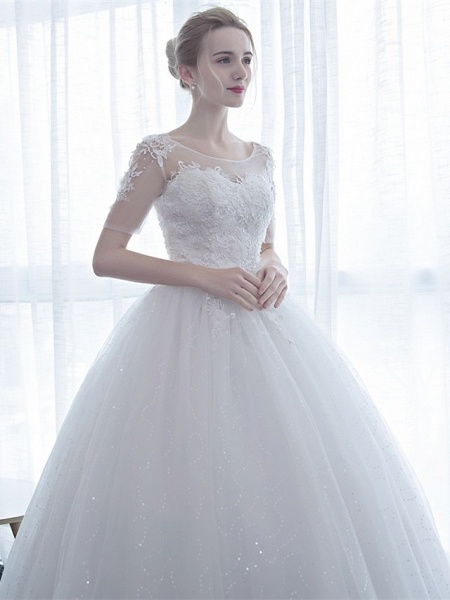 Ball Gown Wedding Dresses Scoop Neck Floor Length Satin Lace Over Tulle Half Sleeve Simple Backless_8