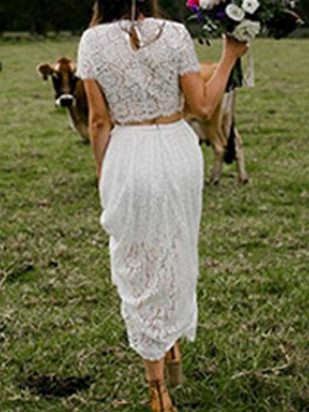 Two Piece A-Line Wedding Dresses Jewel Neck Ankle Length Lace Short Sleeve Beach Boho_2