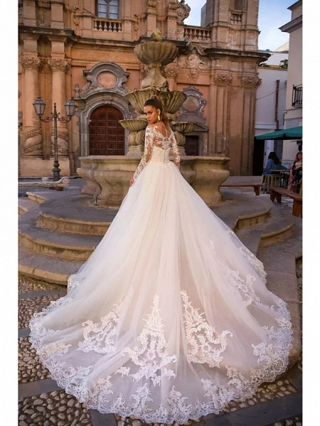 Ball Gown Mermaid \ Trumpet Sweetheart Neckline Court Train Lace Tulle Lace Over Satin Long Sleeve Sexy Plus Size Modern Detachable Wedding Dresses_3
