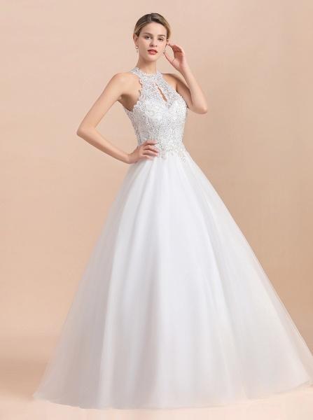 Halter Lace Appliques A-line Sleeveless Wedding Dress_9
