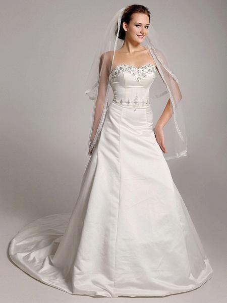 Princess A-Line Wedding Dresses Strapless Sweetheart Neckline Court Train Satin Sleeveless_3