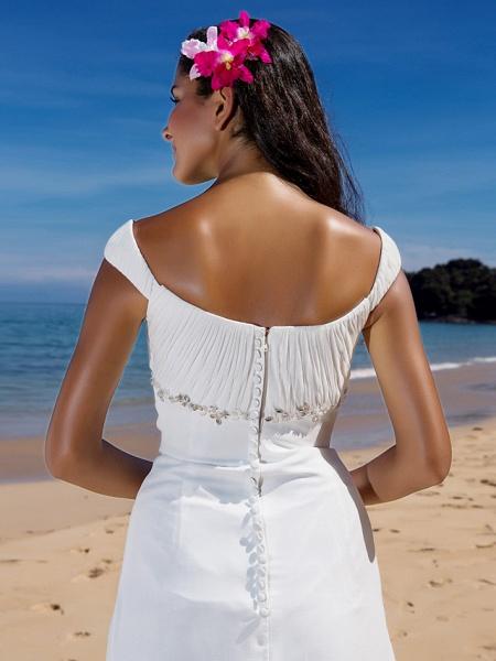 Sheath \ Column Wedding Dresses Scoop Neck Sweep \ Brush Train Chiffon Cap Sleeve Beach Plus Size_6