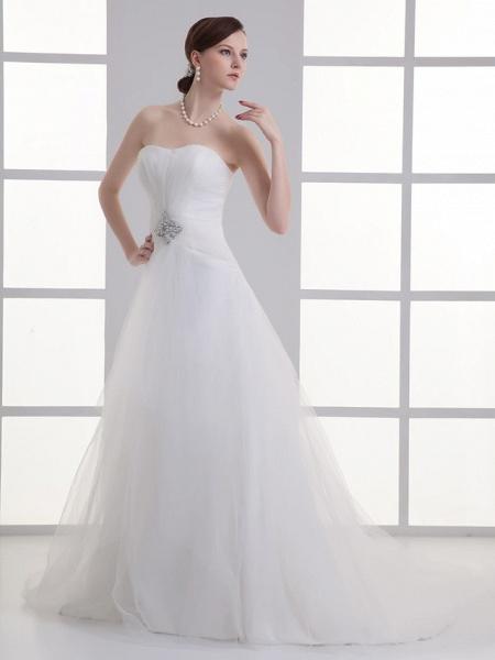 A-Line Wedding Dresses Sweetheart Neckline Chapel Train Lace Satin Strapless_2