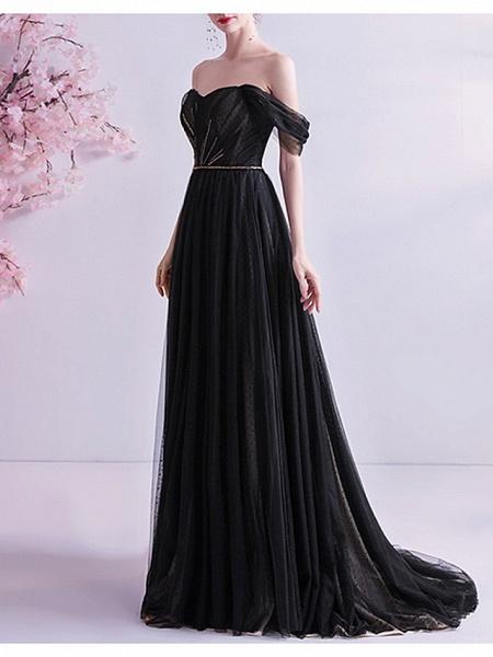 A-Line Wedding Dresses Off Shoulder Sweep \ Brush Train Tulle Cap Sleeve Formal Black Modern_2