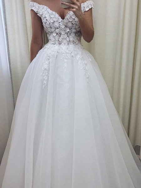 A-Line Wedding Dresses V Wire Sweep \ Brush Train Lace Tulle Short Sleeve Sexy See-Through_2