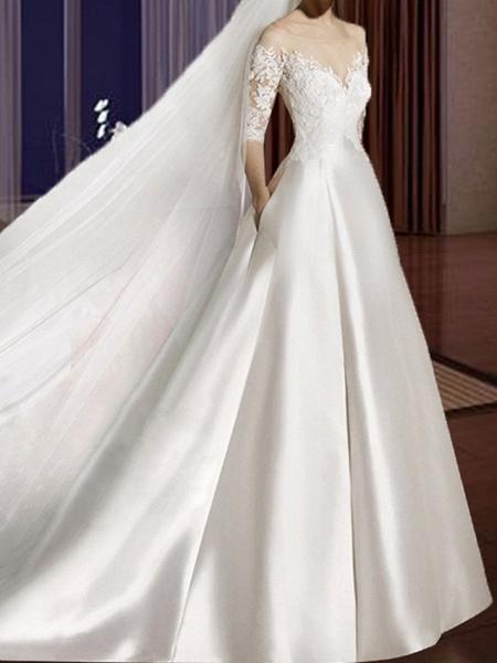 A-Line Wedding Dresses V Neck Court Train Lace Tulle Half Sleeve Formal Vintage Plus Size Illusion Sleeve_3